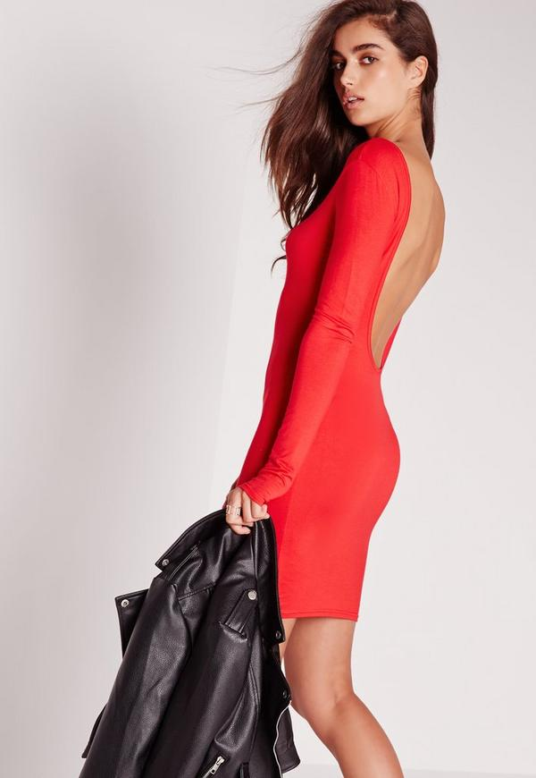 Jersey Scoop Back Bodycon Dress Red