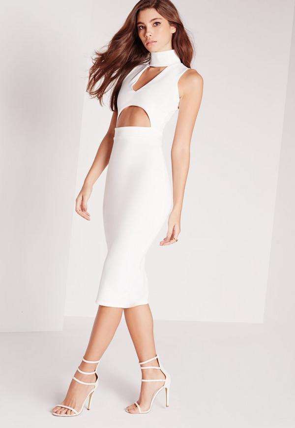 Choker plunge cut out midi dress white