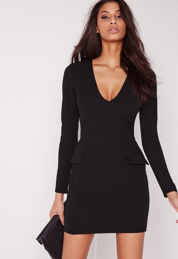 Pocket Detail Bodycon Dress Black