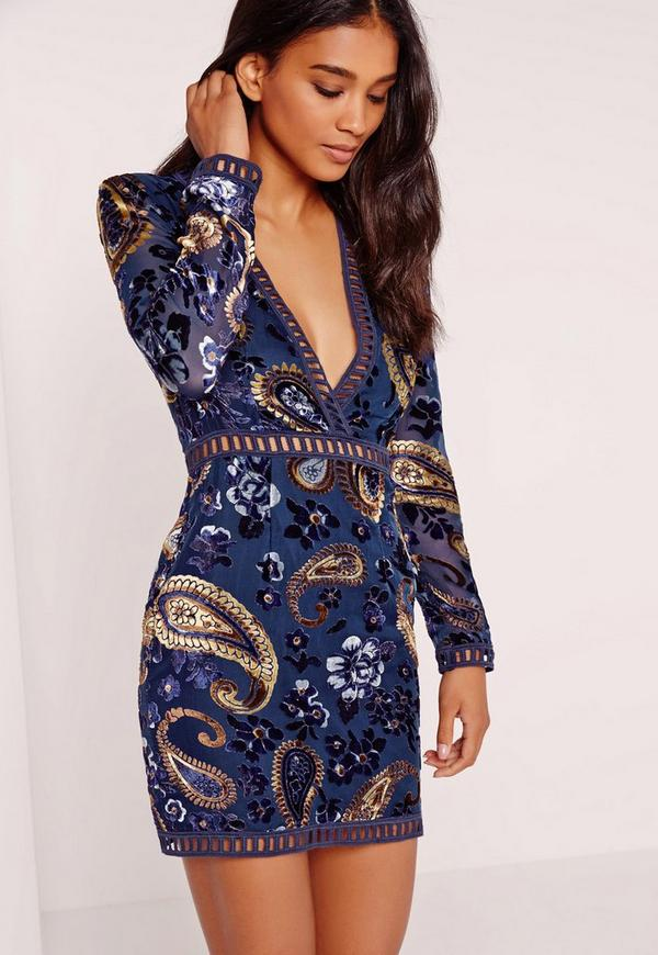 Ladder Trim Embroidered Flocked Bodycon Dress Navy