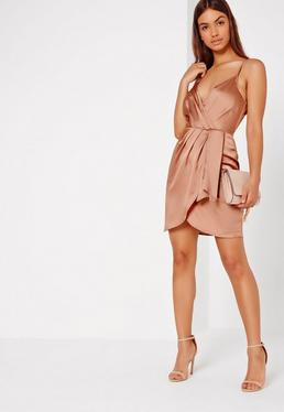 Silky Strappy Wrap Cami Dress Nude