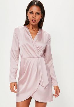 Silky Long Sleeve Wrap Shift Dress Lilac