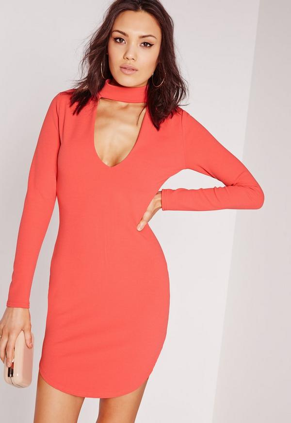 crepe choker curve hem cut out bodycon dress pink