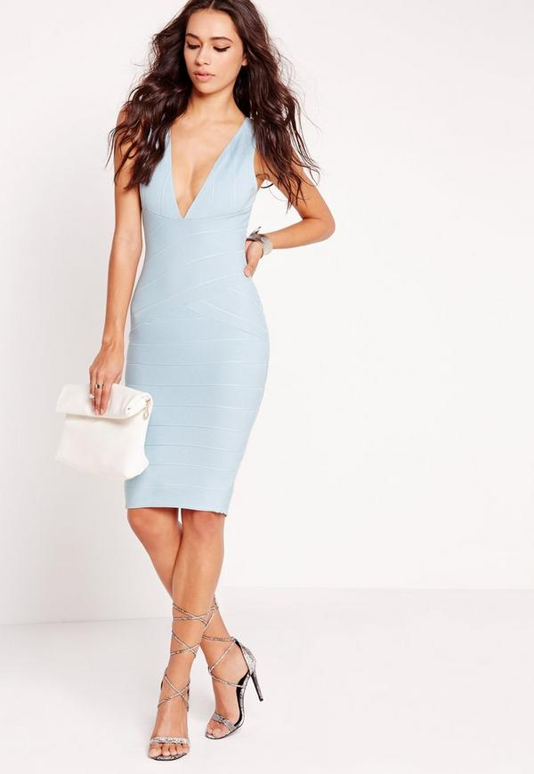 Plunge Bandage Bodycon Dress Blue