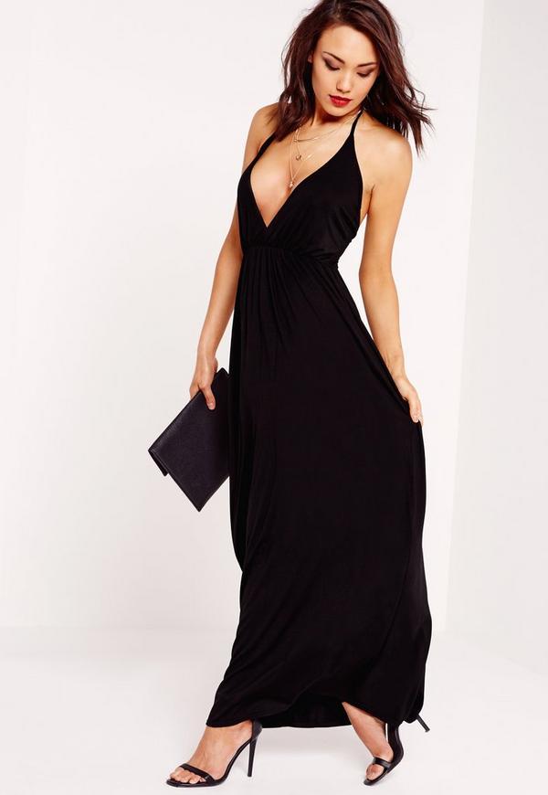 Low Plunge Maxi Dress Black