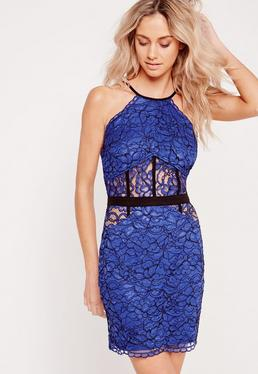 Lace Bodycon Mini Dress Cobalt Blue