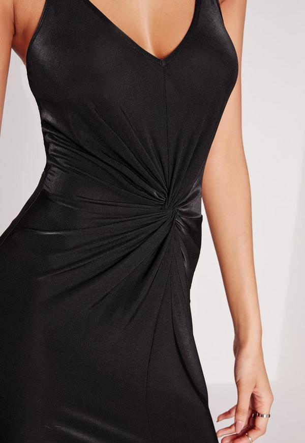 robe longue noire sans manches fendue missguided. Black Bedroom Furniture Sets. Home Design Ideas