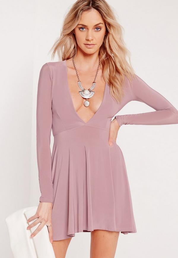 Slinky Plunge Skater Dress Lilac