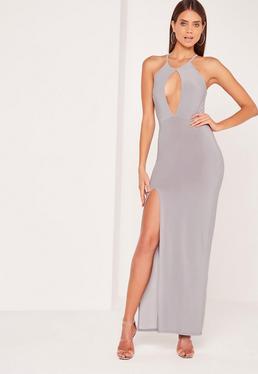 Keyhole Maxi Dress Grey