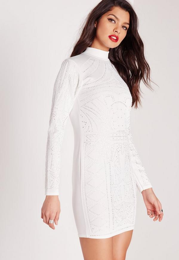 High Neck Glitter Caviar Bodycon Dress White