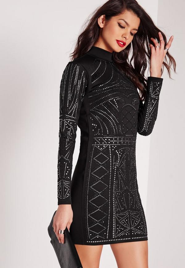 High Neck Glitter Caviar Bodycon Dress Black