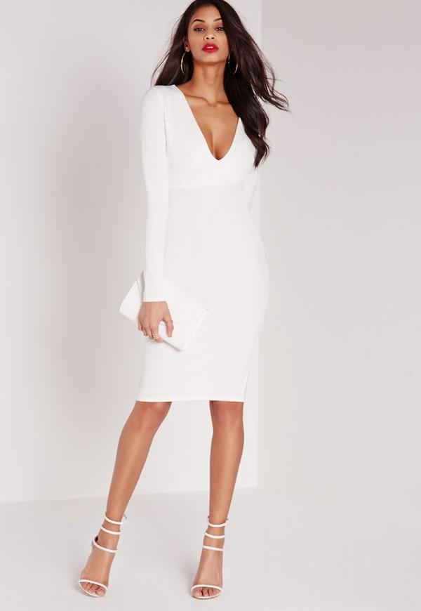 Ponte Long Sleeve Plunge Midi Dress White