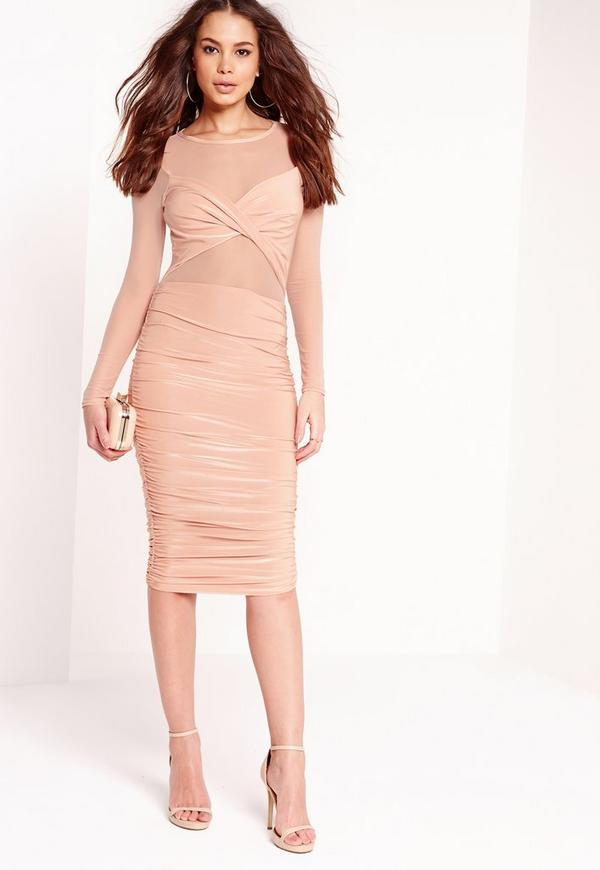 Mesh Top Slinky Ruched Dress Nude