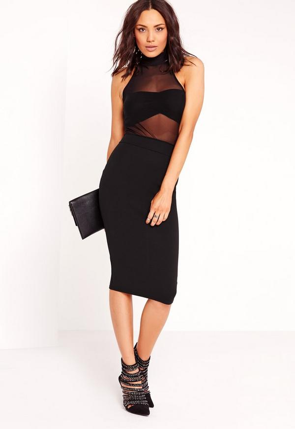 Sleeveless Mesh Top Midi Dress Black