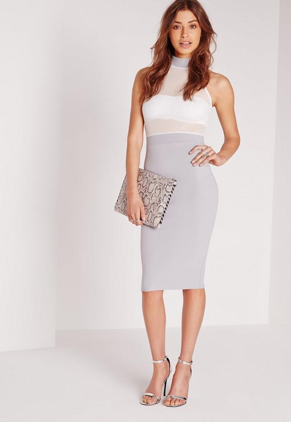 Sleeveless Mesh Top Midi Dress Grey