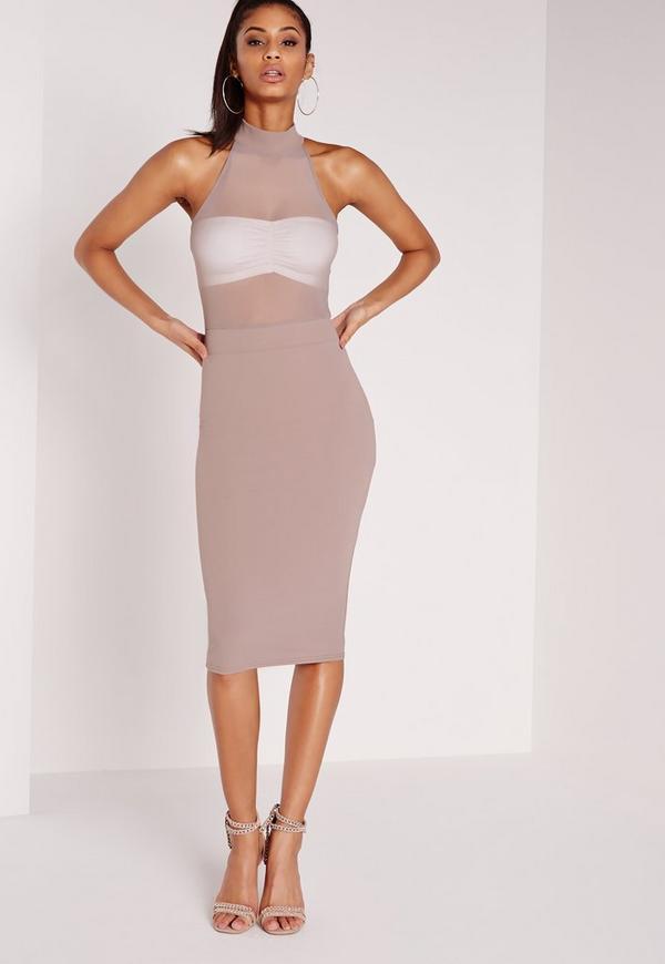 Sleeveless Mesh Top Midi Dress Taupe