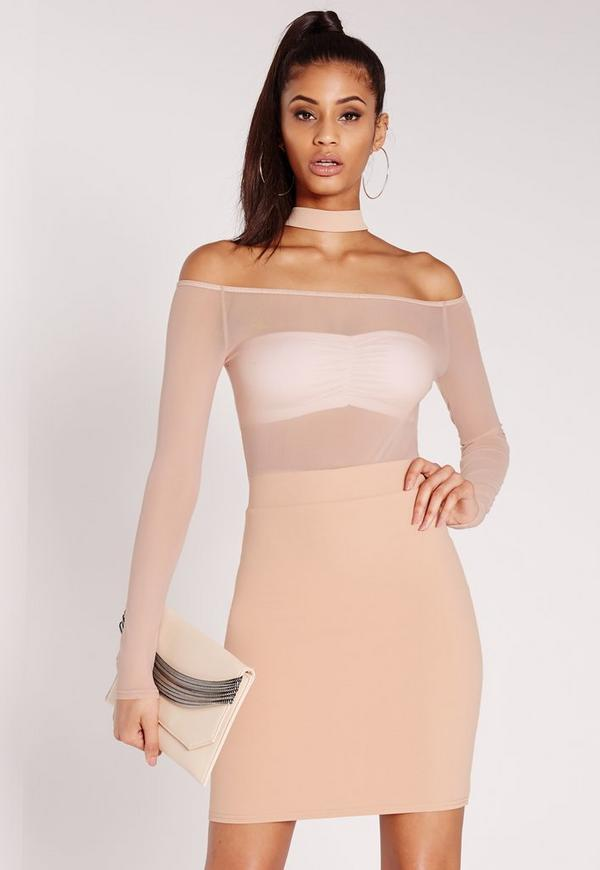 Mesh Top Long Sleeve Midi Dress Nude