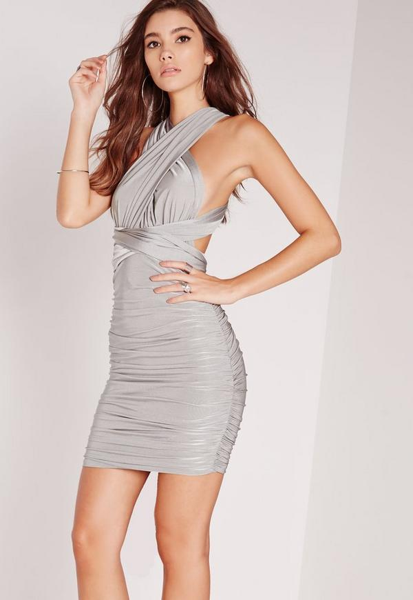 Do It Any Way Multiway Slinky Bodycon Dress Grey