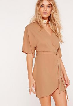 Kimono Wrap Over Belted Mini Dress Nude