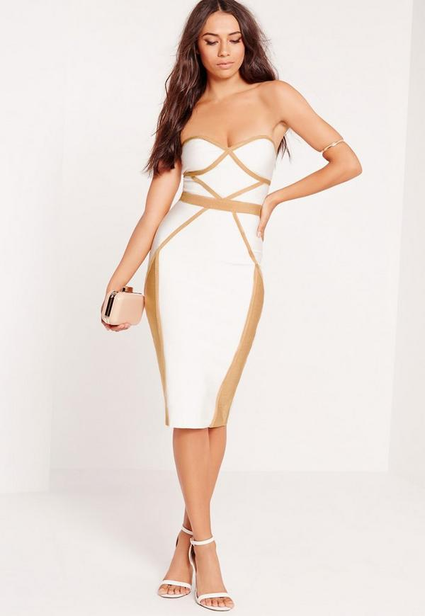Premium contrast piping bandeau bodycon midi dress white