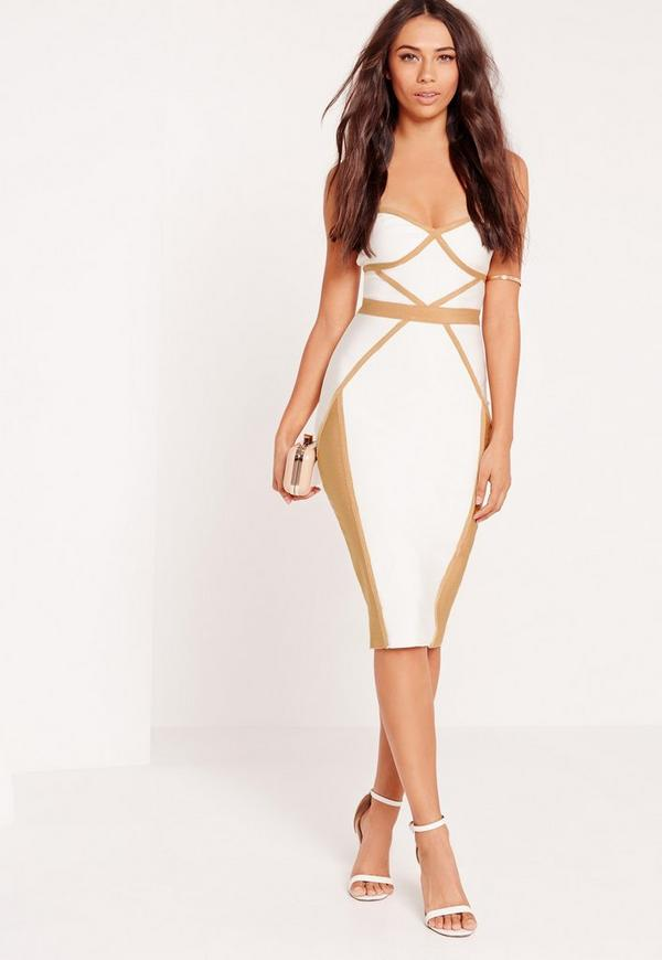 Premium contrast piping bandeau bodycon midi dress white | Missguided