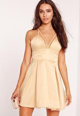 Harness Strap Skater Dress Champagne