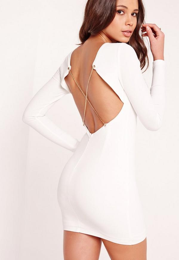 Long Sleeve Chain Cross Back Mini Dress White