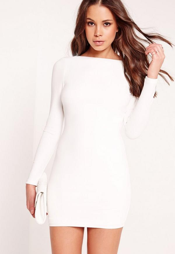 Long Sleeve Chain Cross Back Mini Dress White | Missguided