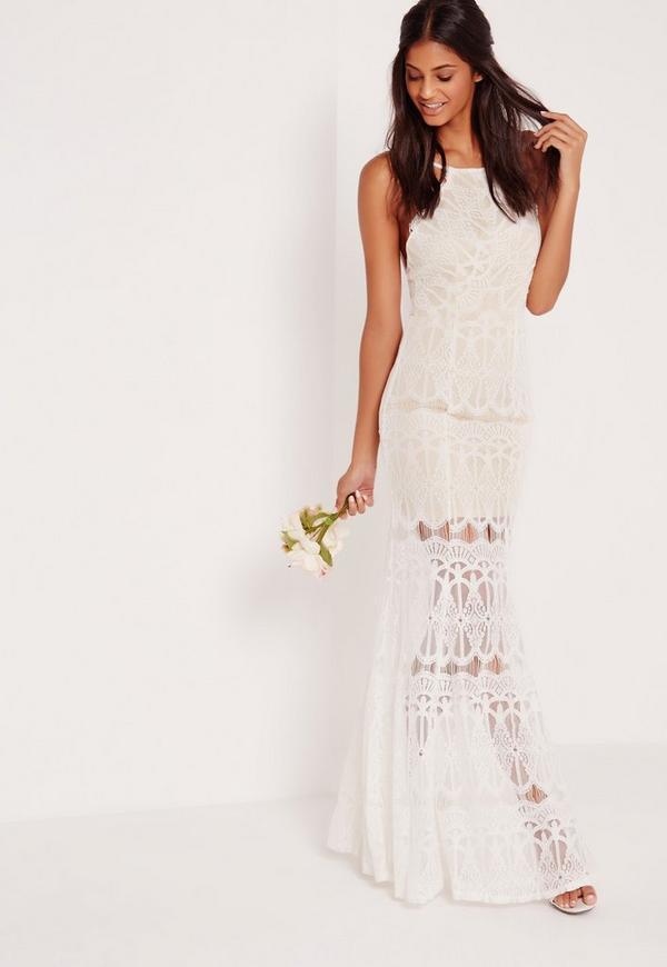 High Neck Scallop Lace Maxi Dress White