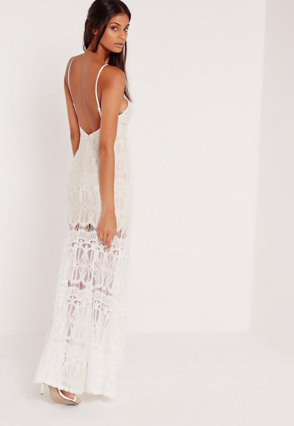 high neck scallop lace maxi dress white missguided