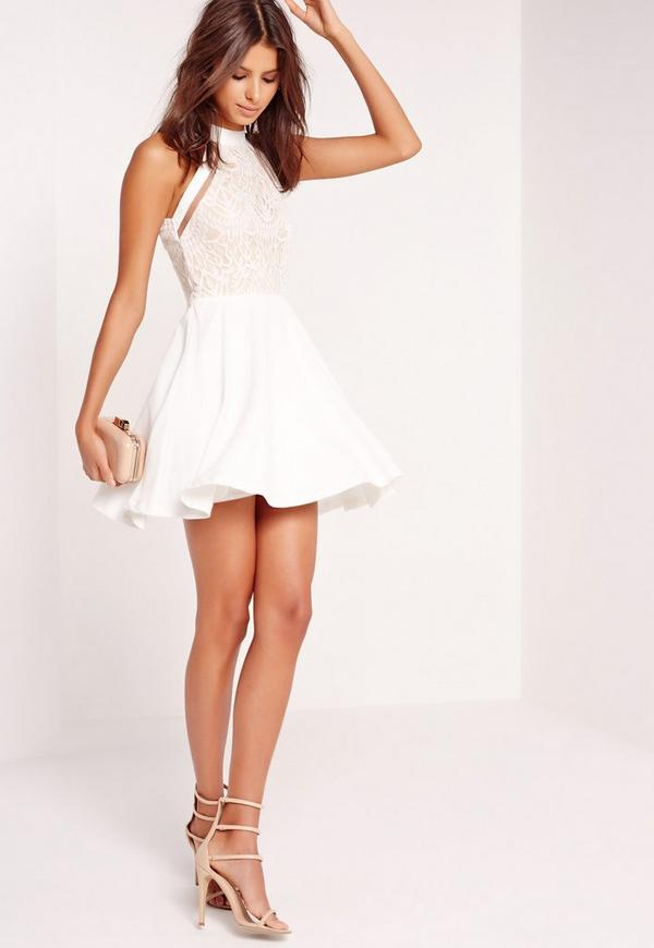 Mesh Stripe Lace Top Skater Dress White   Missguided