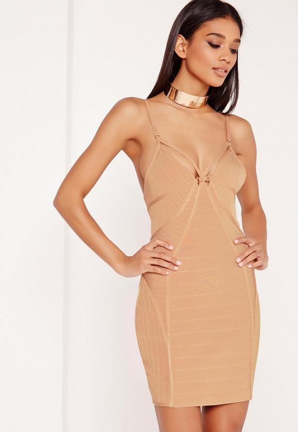 Premium Harness Strap Bandage Bodycon Dress Nude