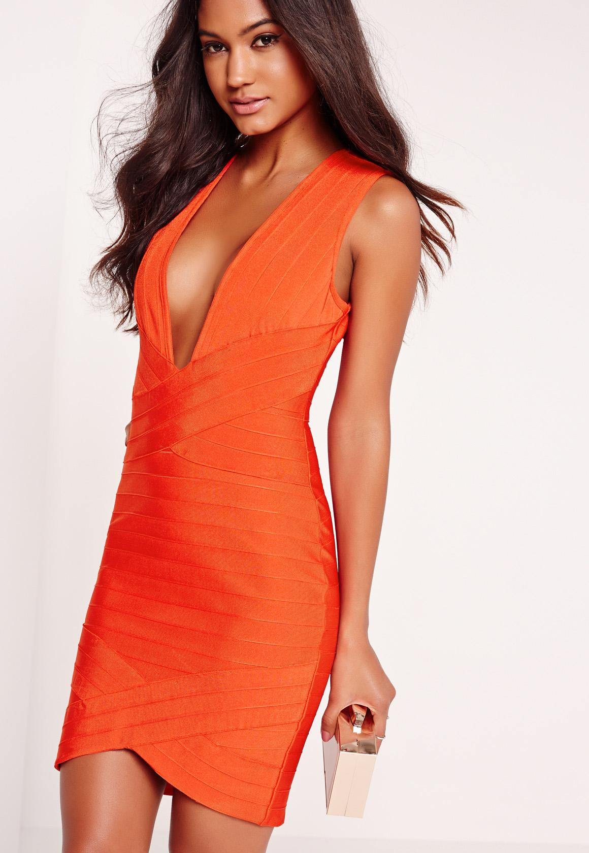 Orange Bodycon Dress | Ejn Dress