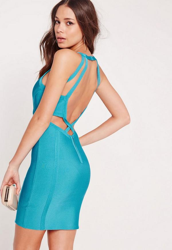 Premium Bandage Back Strap Bodycon Dress Blue