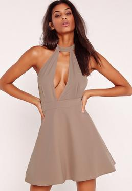 Choker Skater Dress Taupe
