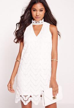 Choker Neck Lace Bodycon Dress White