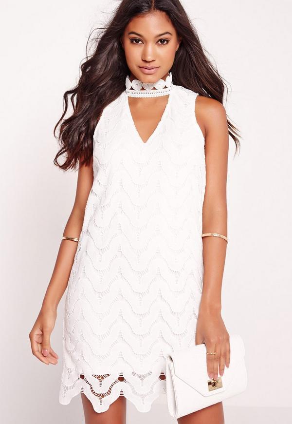 Choker neck lace bodycon dress white missguided for Choker neck wedding dress