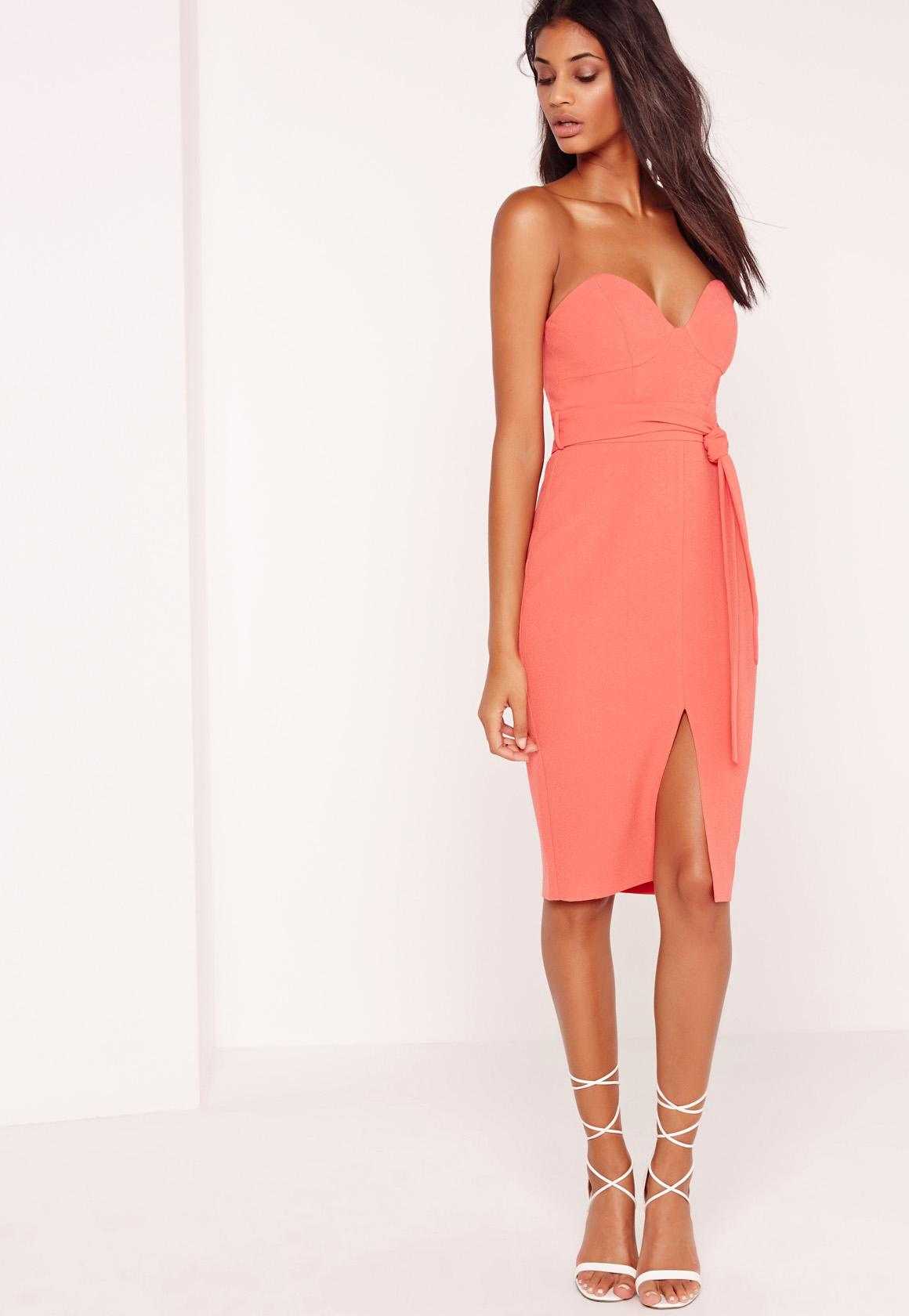 Bandeau Tie Waist Midi Dress Pink