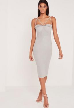 Carli Bybel Faux Suede Harness Detail Midi Dress Grey