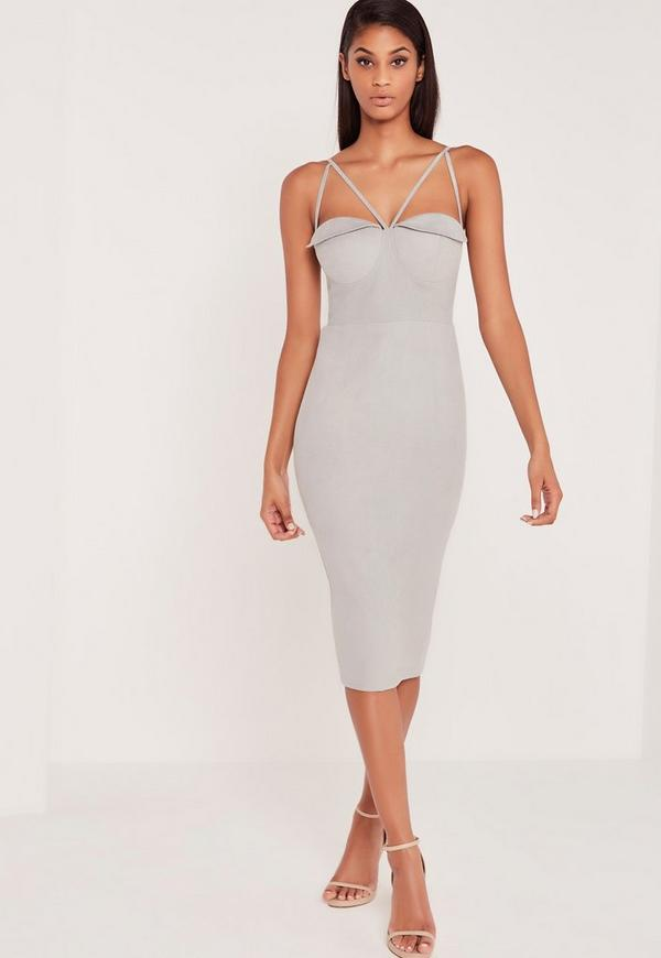 612d5d361502 Premium Bandage Lace Trim Bust Cup Midi Dress Nude Missguided | 2019 trends  | xoosha