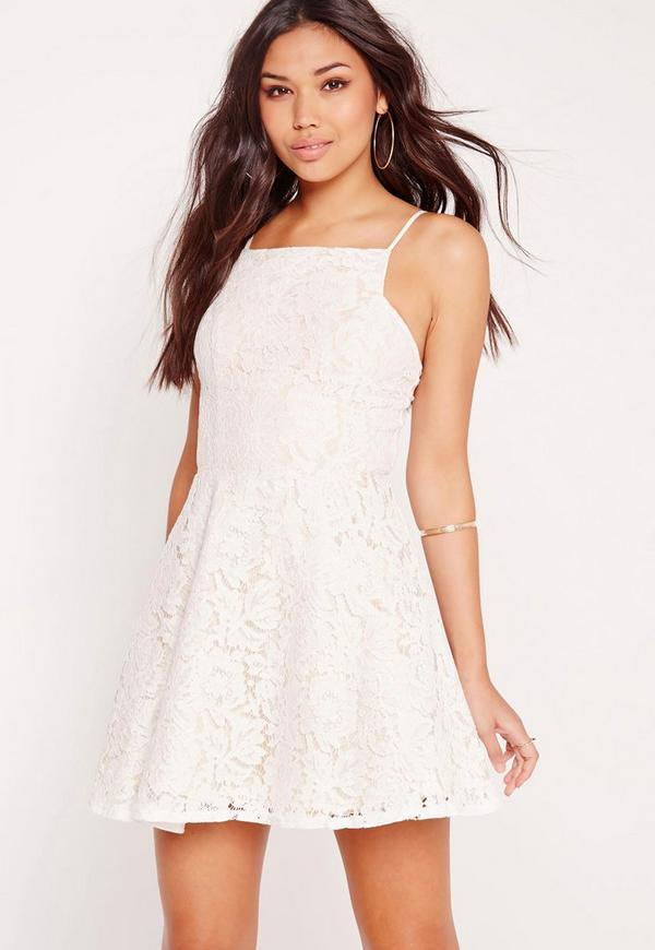 Square Neck Lace Skater Dress Nude