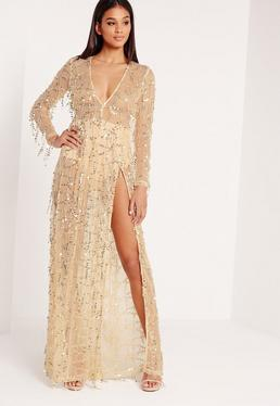 Premium Sequin Maxi Dress Gold