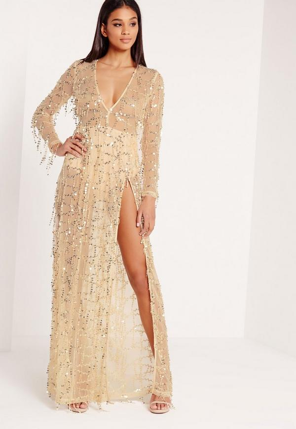 Premium Sequin Maxi Dress Gold | Missguided