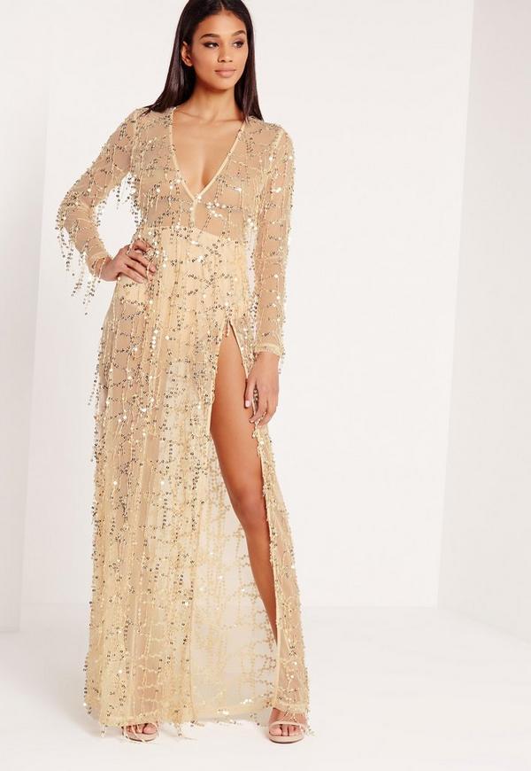 Premium Sequin Maxi Dress Gold