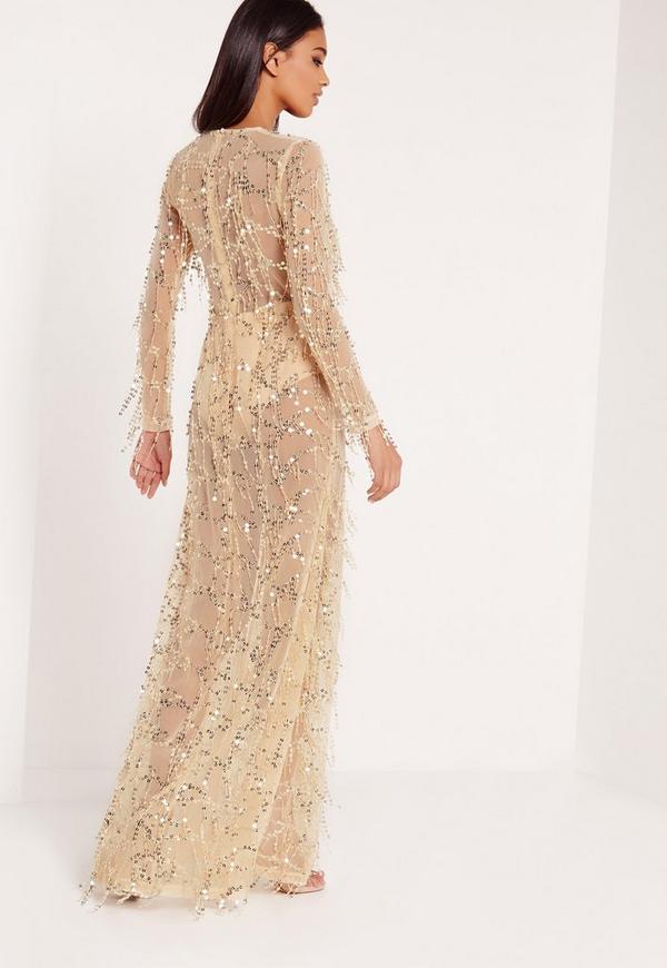 Premium Sequin Maxi Dress Gold Missguided