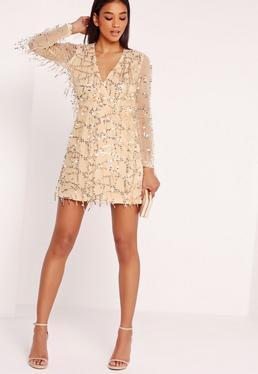 Sequin Mini Dress Gold