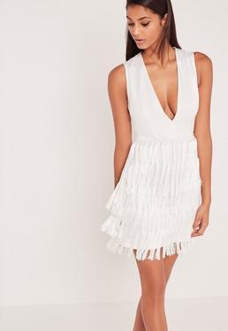 Robe moulante blanche à franges Carli Bybel