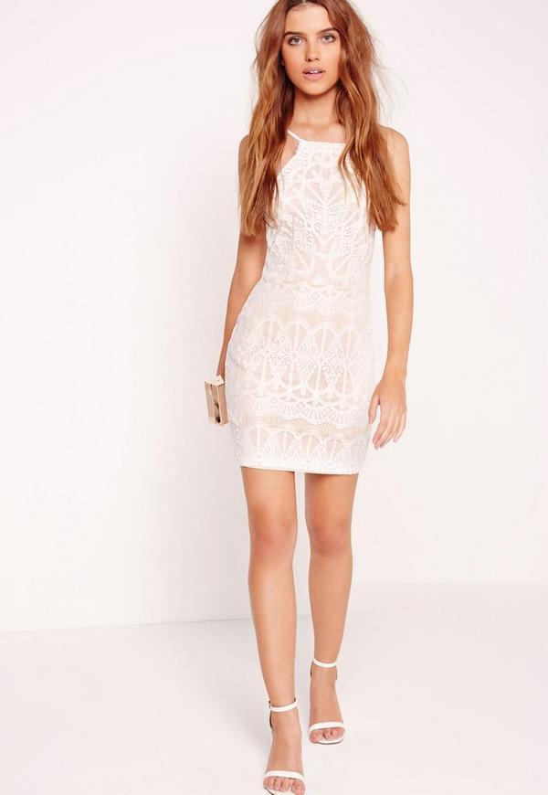 Lace Strappy Bodycon Dress Nude/White
