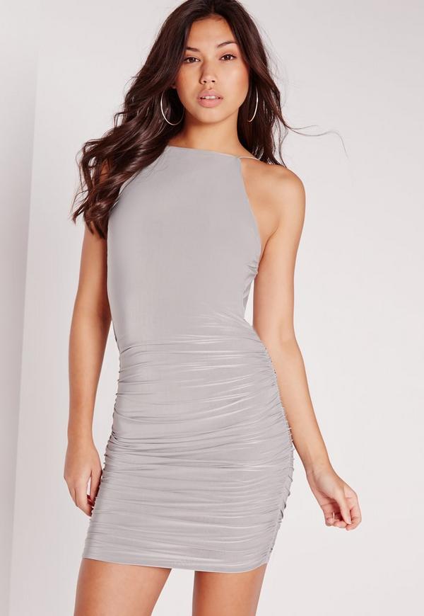 Slinky Ruched Wrap Back Bodycon Dress Grey