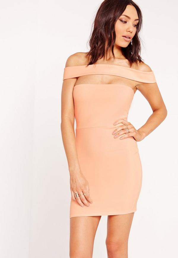 Cut Out Panel Bardot Bodycon Dress Nude